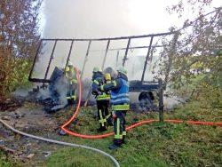 Abgebranntes Bienenhaus in Prettelshofen