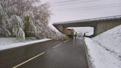 Unter Schneelast auf die Kreisstraße gestürzter Baum