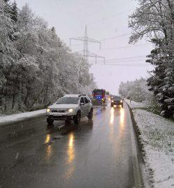 Unter Schneelast auf die Staatsstraße gestürzter Baum