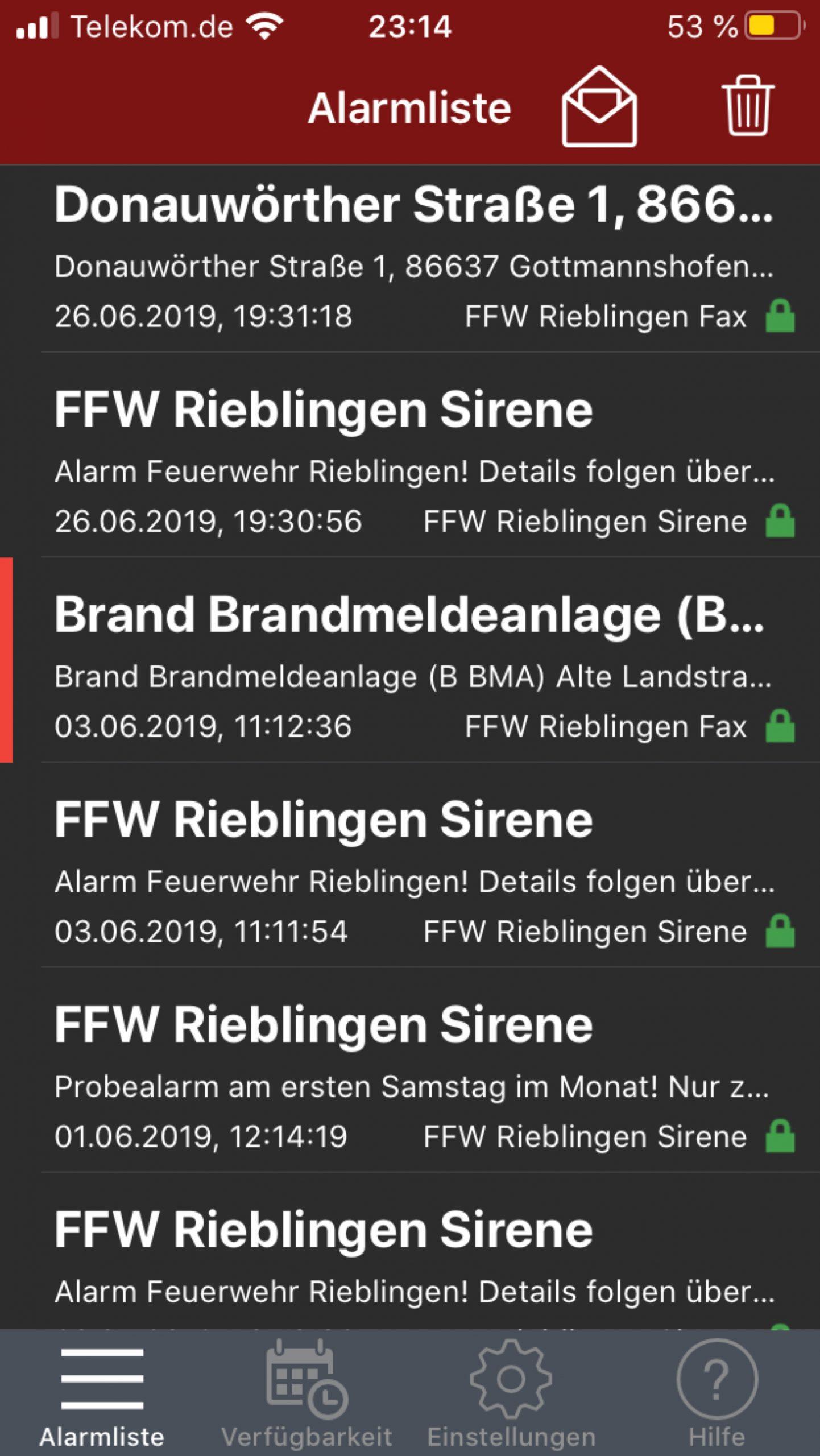 Screenshot der Smartphone-App aPager zur Alarmierung
